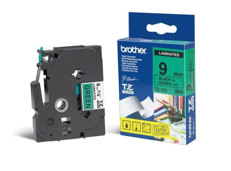 Brother TZe 721 Laminated tape- Black on Green