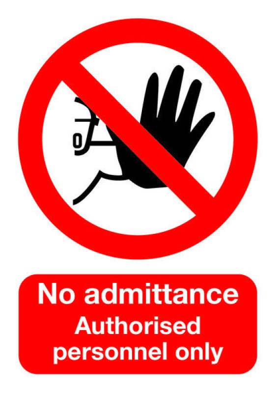 Extra Value A5 Self Adhesive Warning Sign - No Admittance