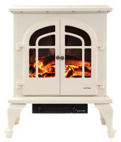 Warmlite Log Effect Double Stove -  Cream