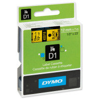 Dymo D1 Tape 12mm x7M- Black on Yellow