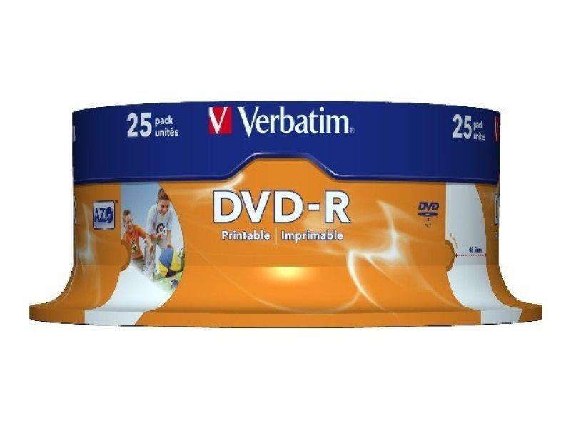Verbatim 16x Advazo Wide Print DVD-R Discs - 25 Pack