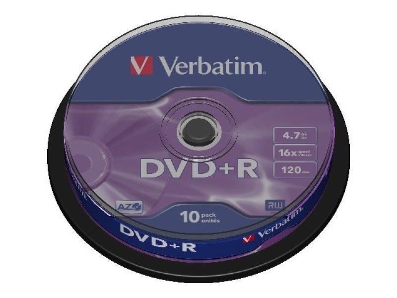 Verbatim 16x DVD+R 4.7GB AZO 10 Pack Spindle