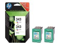 HP 343 Multi-pack 2x Tri-Colour Original Ink Cartridge - Standard Yield 330 Pages - CB332EE