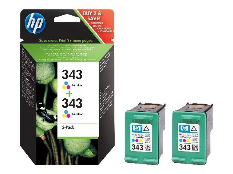 HP 343 Colour Twin Pack Ink Cartridge  CB332EE