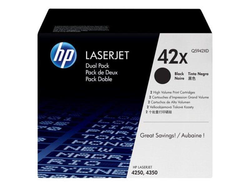 HP 42X Black Dual Pack Toner Cartridge  Q5942XD
