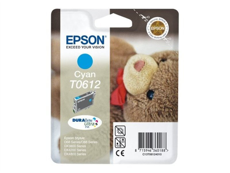 Epson T0612 8ml Pigmented Cyan Ink Cartridge 250 Pages