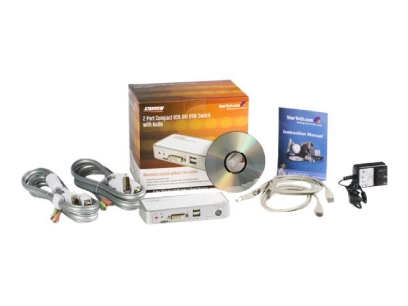 Startech 2 Port Compact USB DVI KVM - With Cables And Audio Switching