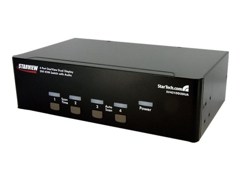 StarTech.com 4 Port Dual DVI USB KVM Switch w/ Audio & USB Hub