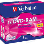 Verbatim 3x 4.7GB DVD-RAM - 5 Pack