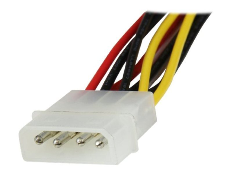 Image of Startech 12 Inch Lp4 To 2x Right Angle Latching Sata Power Y Cable Splitter 4 Pin Molex To Dual Sata