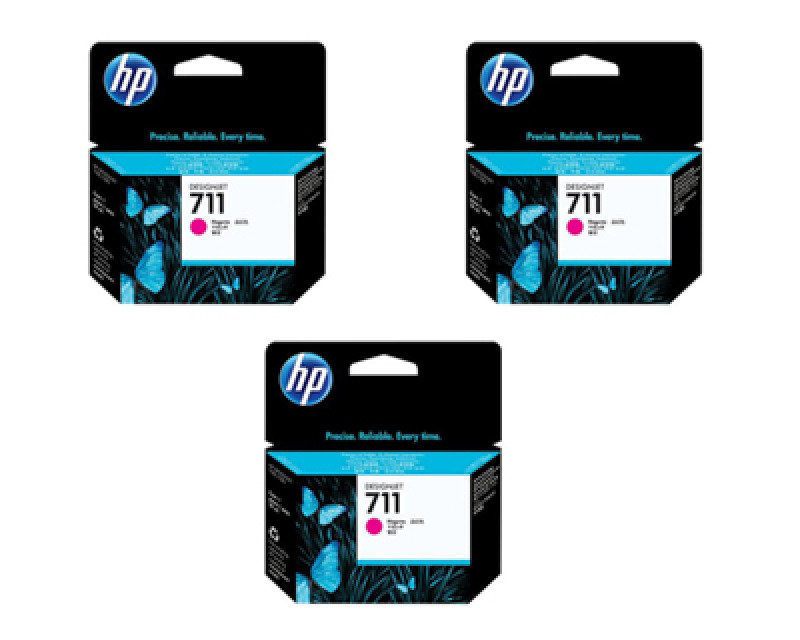 HP 711 Magenta Original, Multi-pack Ink Cartridge - Standard Yield 3 x 29ml - CZ135A