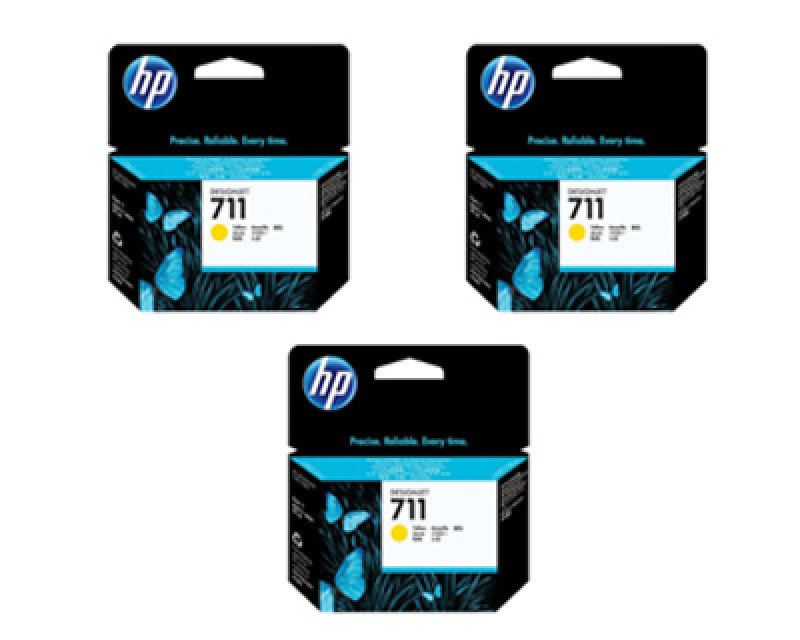 HP 711 3pack Yellow Ink Cartridges  CZ136A