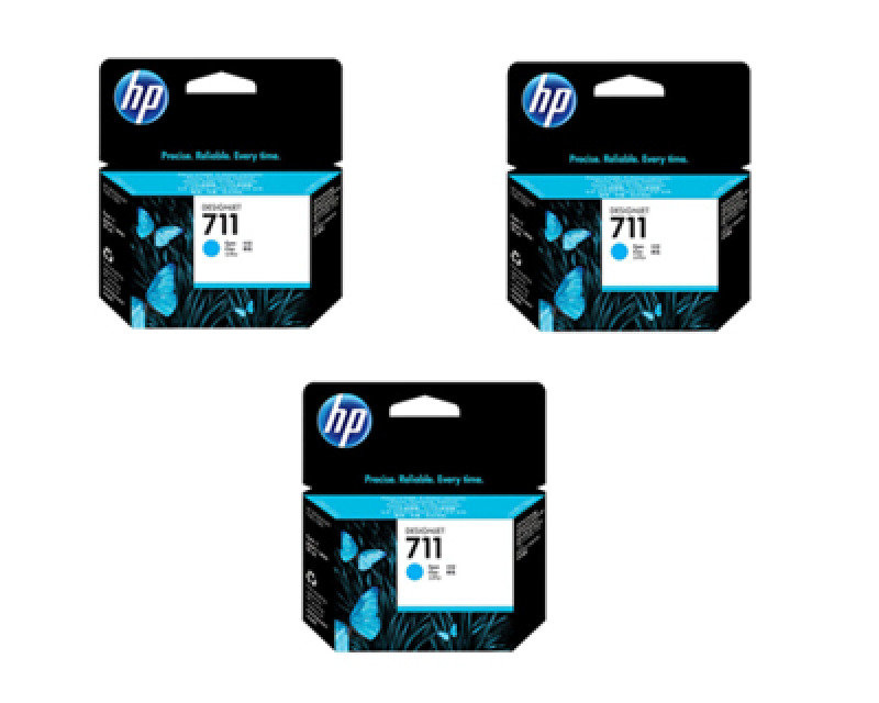 HP 711 3pack Cyan Ink Cartridge  CZ134A