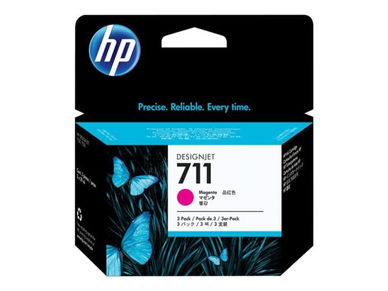 *HP 711 Magenta Ink Cartridge - 3 Pack - CZ135A