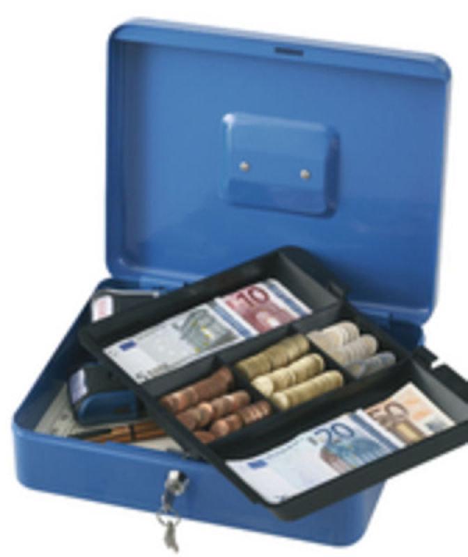 Q Connect 12 Inch Cash Box - Blue