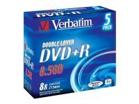 Verbatim 8x DVD+R Dual Layer 8.5GB AZO 5 Pack Slim Case