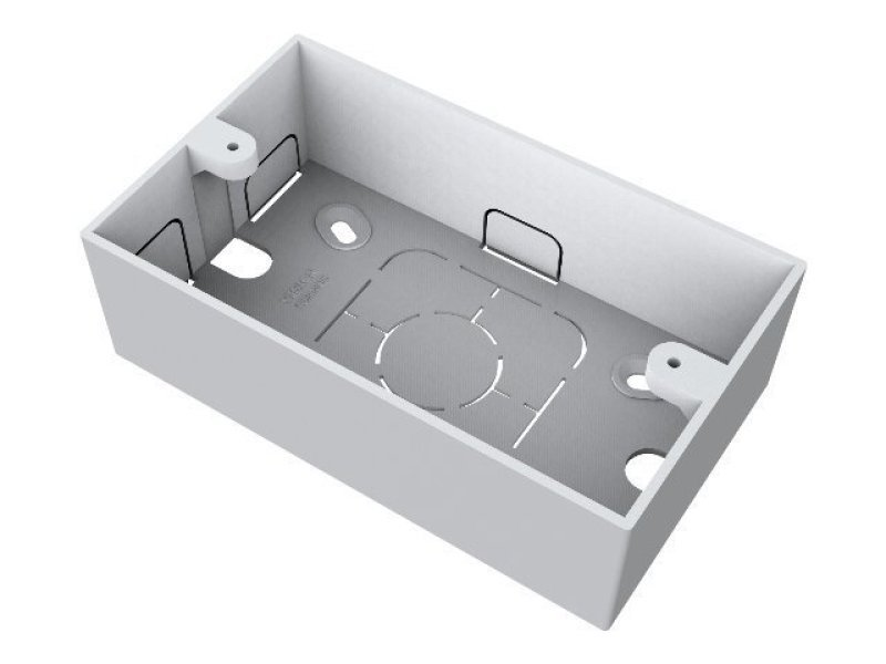 VISION TECHCONNECT V2 SPARE DOUBLE GANG SURFACE MOUNT UK BACKBOX Standard double-gang UK surface-mount backbox (pattress) 45mm deep. New version redesigned to accommodate TC-AMP1 power supply.