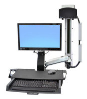 Ergotron StyleView Sit-Stand Combo System with Worksurface and Small Black CPU Holder