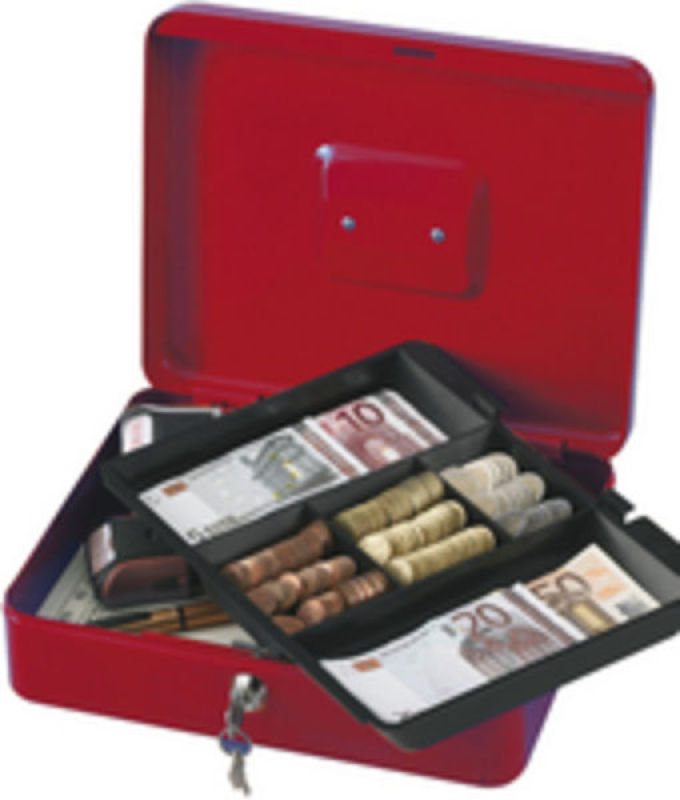 Q Connect 12 Inch Cash Box - Red