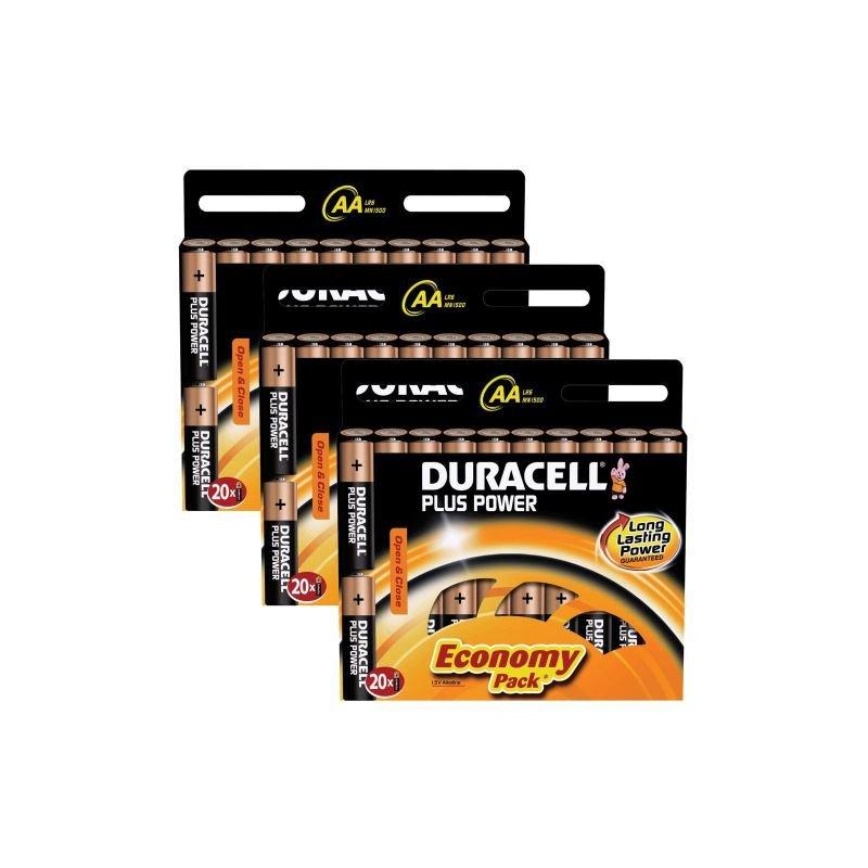Duracell Power Plus AA Alkaline Battery - 60 Pack