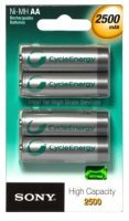 Sony AA 2500mAh NiMH Rechargeable Battery - 4 Pack