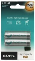 Sony Rechargeable AA NiMH Batteries - 2 Pack