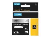 Dymo Rhino Tape Perm Polyester 6mm - Black On Metallic In