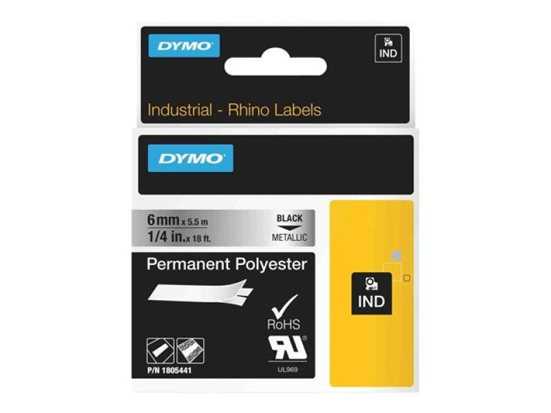 Dymo Rhino Tape Perm Polyester 6mm - Black On Metallic In