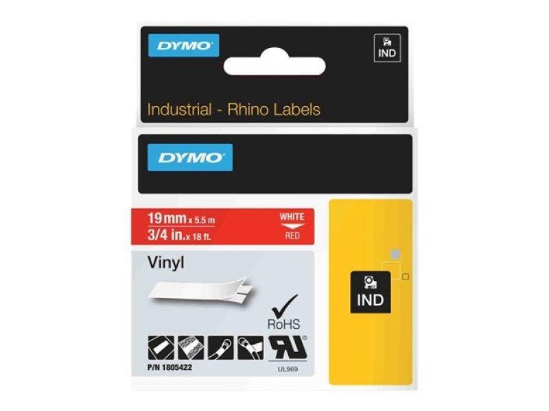 Rhinopro Vinyl Labels - 19mm X 5 5m White On Red