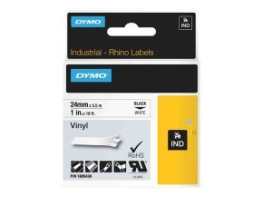 Dymo Black on White Rhino Vinyl Tape 24mm