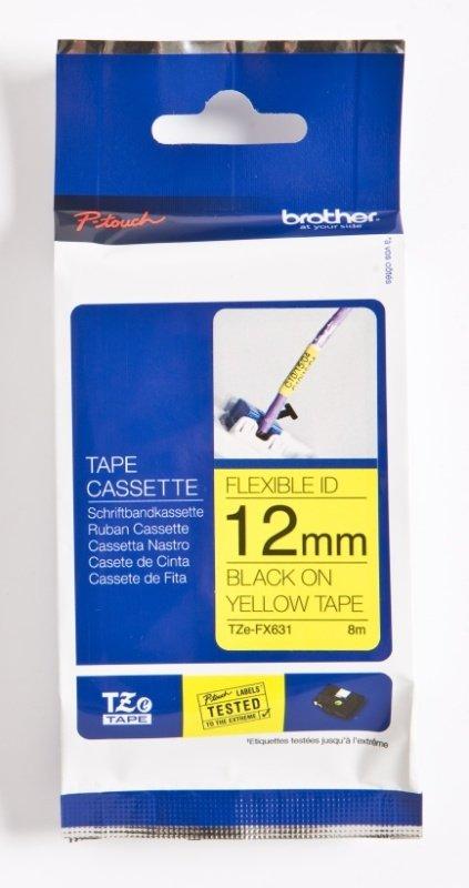 Brother TZe FX631 Flexible tape- Black on yellow