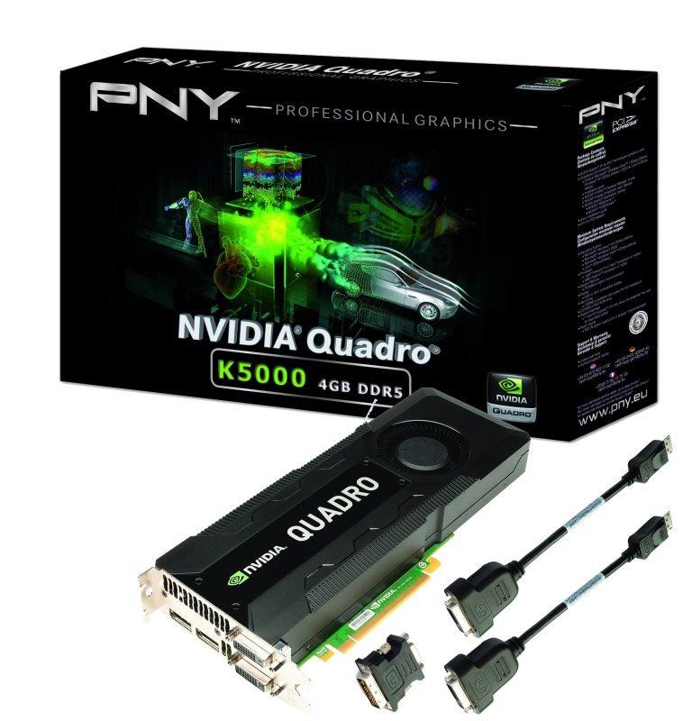 Image of PNY Quadro K5000 Keplar 4GB 256-bit GDDR5 Dual DVI Dual DisplayPort PCI-E 3.0 x16 Graphics Card