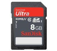 SanDisk 8GB Ultra 30MB/s Class 10 SD Memory Card