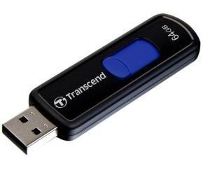 Transcend JetFlash 500 64GB USB 2.0 Flash Drive (Black/Navy Blue)
