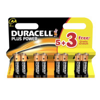 Duracell Plus Power AA Batteries - 5 + 3 Free
