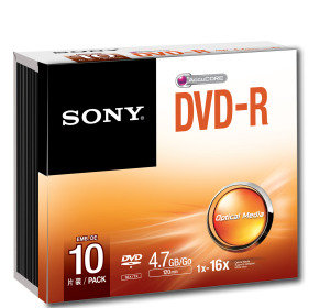 Sony DVD-R 4.7GB 16X Discs - 10 Pack Slim Case
