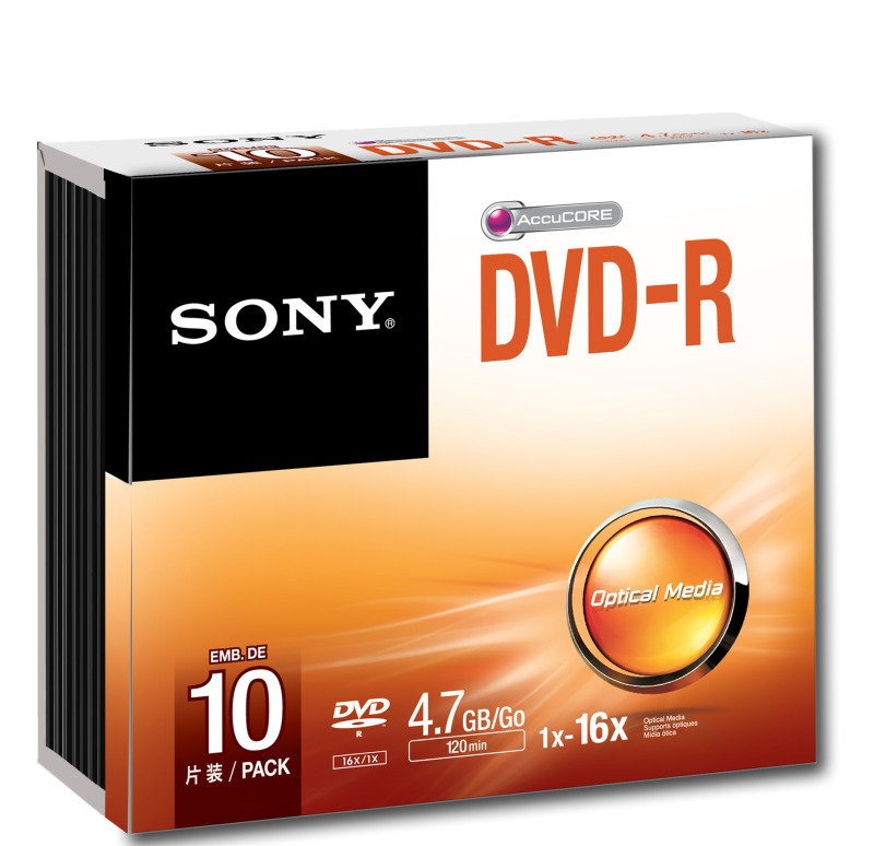 Sony DVD-R 4.7GB 16X Discs - 10 Pack Slim Case