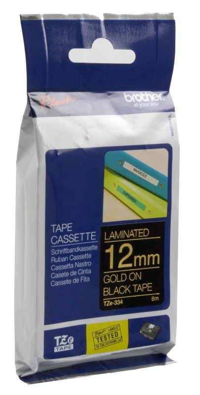Brother TZe 334 Laminated adhesive tape- Gold on Black