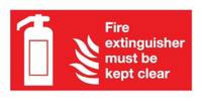 Extra Value 100x200mm Self Adhesive Safety Sign - Fire Extinguisher