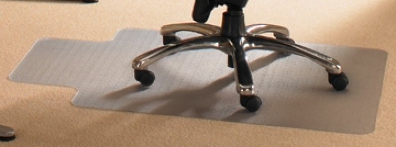 Image of Cleartex PVC Chair Mat Carpet Contoured 990 x 1250mm Clear