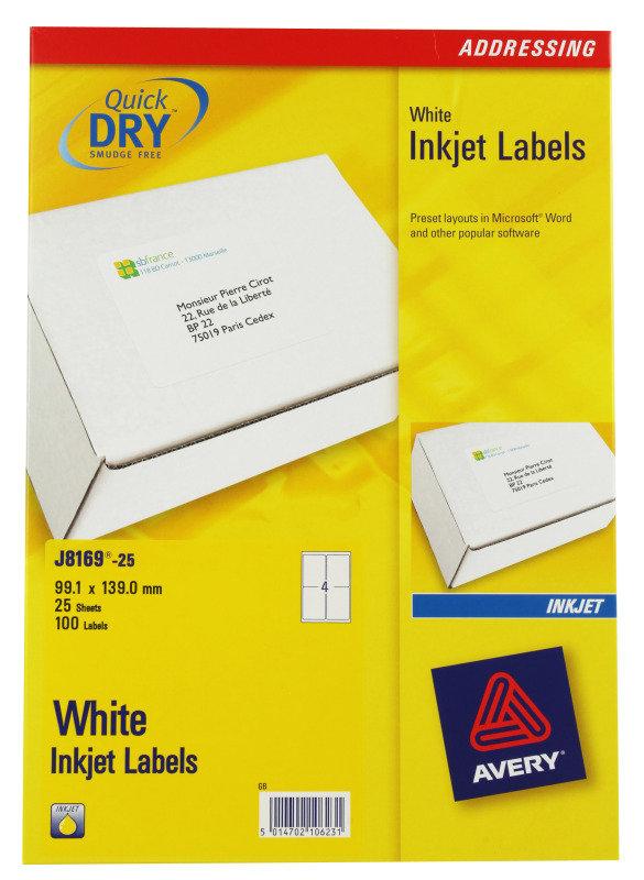 AVERY INKJET LABELS 4/SHT 139X99.1MM