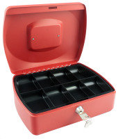 Q Connect 10 Inch Cash Box - Red