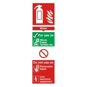 Extra Value 280x90mm Self Adhesive Safety Sign - Fire Extinguisher Water
