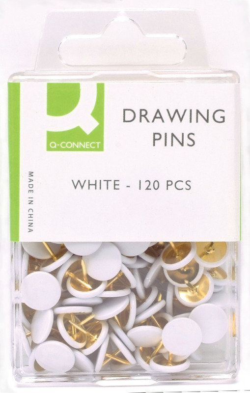 Q CONNECT DRAWING PINS 120PK WHITE PK10