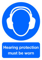 SIGNSLAB A4 HEARING PROTCTN M/B/WORN PVC