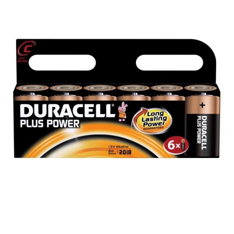 Duracell Power Plus C Alkaline Battery - 6 Pack