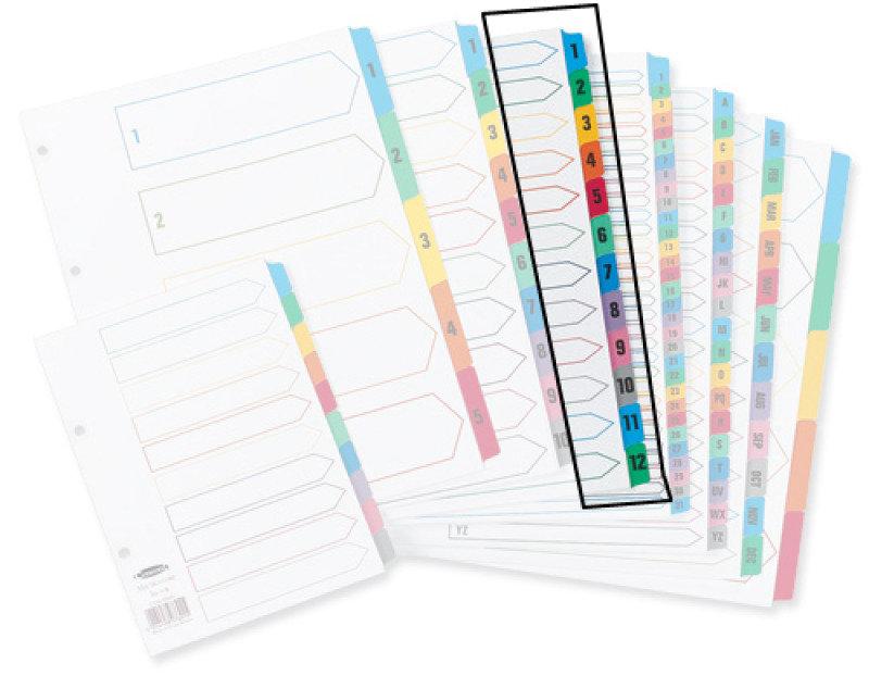 Concord Index 1-12 A4 Multi Colour Tabs