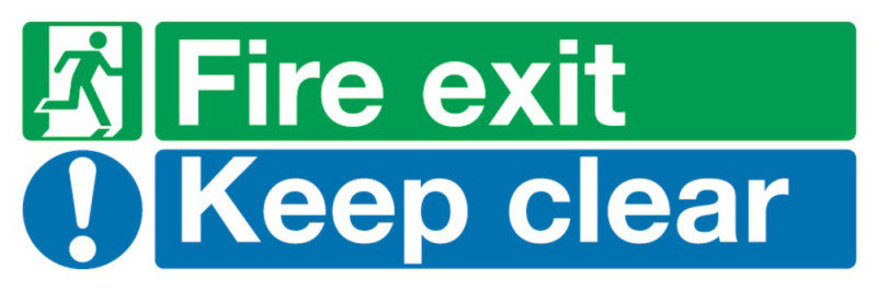 FIRE EXIT KEEP CLEAR 15X45 S/A EC08S/S
