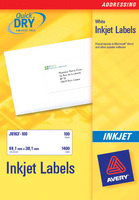 AVERY INKJET LABELS 24/SHT 63.5X33.9