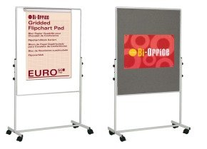 Bi-Office White Portable Duo Board & Flipchart Easel